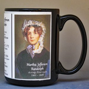Martha Jefferson Randolph, White House Hostess biographical history mug.