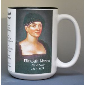 Elizabeth Monroe, US First Lady biographical history mug.