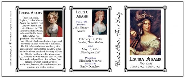 Louisa Adams US First Lady history mug tri-panel.