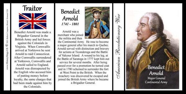 Benedict Arnold, Revolutionary War biographical history mug tri-panel.