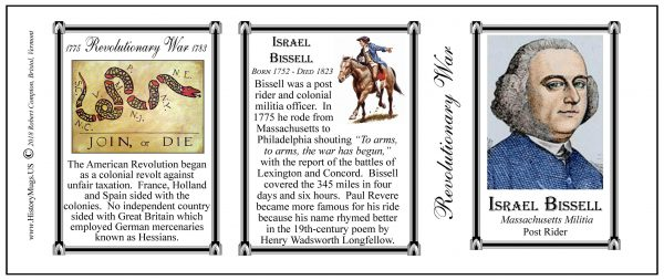 Israel Bissell Revolutionary War history mug tri-panel.