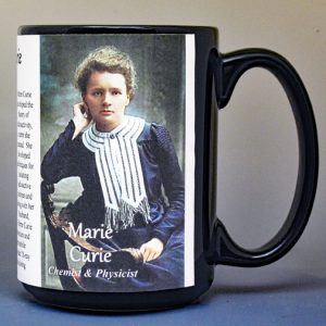 Marie Curie, science & inventions biographical history mug.