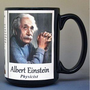 Albert Einstein, physicist biographical history mug.