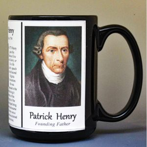 Patrick Henry, American Revolutionary War biographical history mug.