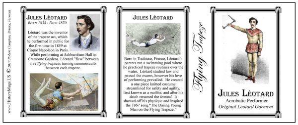 Jules Léotard performer/athlete history mug tri-panel.