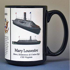 Mary Louvestre, slave, seamstress, and Union spy biographical history mug.
