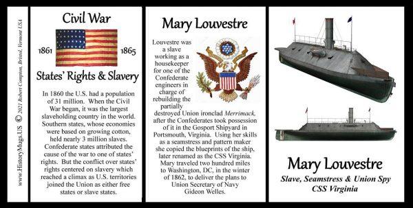Mary Louvestre, slave, seamstress, and Union spy biographical history mug tri-panel.
