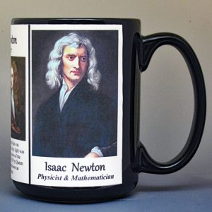 Isaac Newton, scientist and inventor biographical history mug.