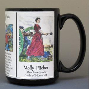 Molly Pitcher, American Revolutionary War biographical history mug.