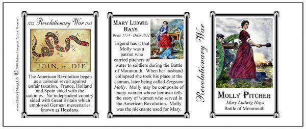 Molly Pitcher Revolutionary War history mug tri-panel.