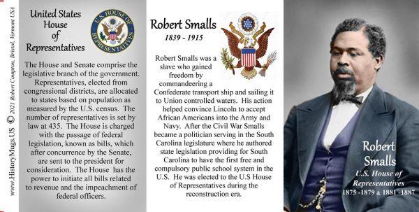 Robert Smalls, US Representative biographical history mug tri-panel.