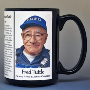 Fred Tuttle, Vermont biographical history mug.