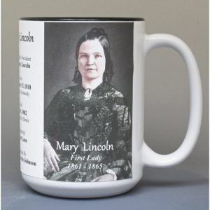 Mary Lincoln, US First Lady biographical history mug.