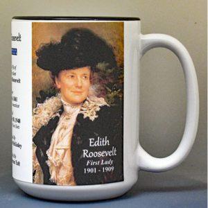Edith Roosevelt, US First Lady biographical history mug.