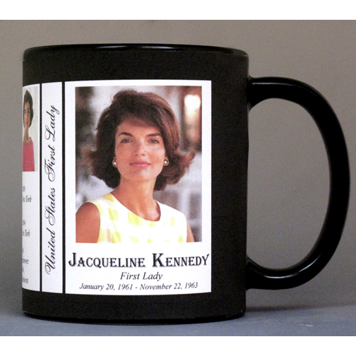 Jacqueline Kennedy US First Lady history mug.