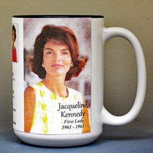 Jacqueline Kennedy, US First Lady biographical history mug.