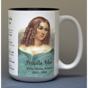 Priscilla Tyler, White House Hostess biographical history mug.