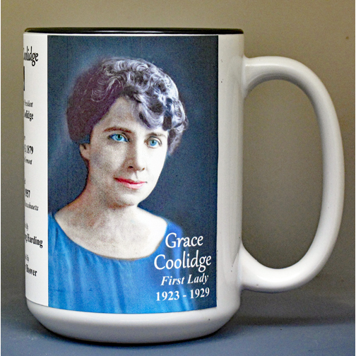 Grace Coolidge, US First Lady biographical history mug.