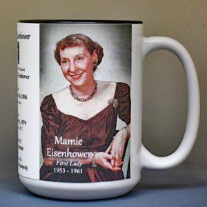 Mamie Eisenhower, US First Lady biographical history mug.