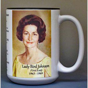 Lady Bird Johnson, US First Lady biographical history mug.