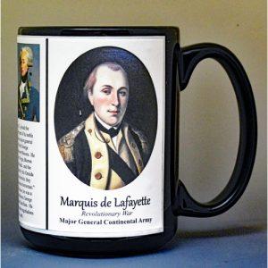 Marquis de Lafayette, American Revolutionary War biographical history mug.