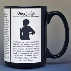 Oney Judge, freedom seeker and former slave, biographical history mug.