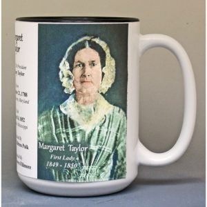 Margaret Taylor, US First Lady biographical history mug.