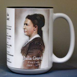 Julia Grant, US First Lady biographical history mug.