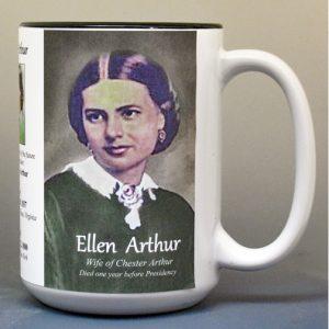 Ellen Arthur, wife of US President Chester Arthur, biographical history mug.