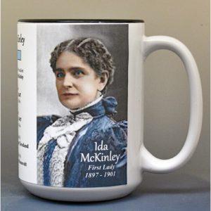 Ida McKinley, US First Lady biographical history mug.