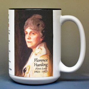 Florence Harding, US First Lady biographical history mug.