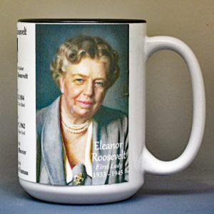 Eleanor Roosevelt, US First Lady biographical history mug.
