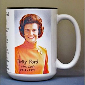 Betty Ford, US First Lady biographical history mug.