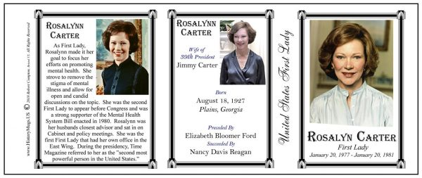 Rosalynn Carter First Lady history mug tri-panel.