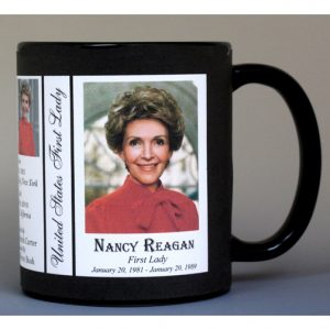 Nancy Reagan First Lady history mug.