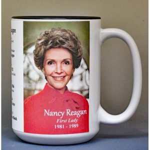 Nancy Reagan, US First Lady biographical history mug.