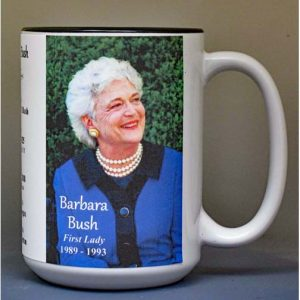 Barbara Bush, US First Lady biographical history mug.