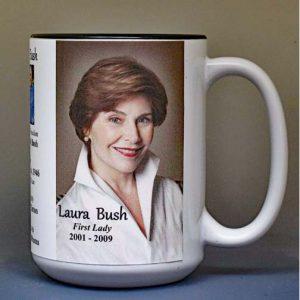 Laura Bush, US First Lady biographical history mug.