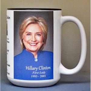 Hillary Clinton, US First Lady biographical history mug.