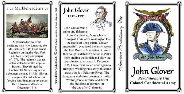 John Glover, American Revolutionary War biographical history mug tri-panel.