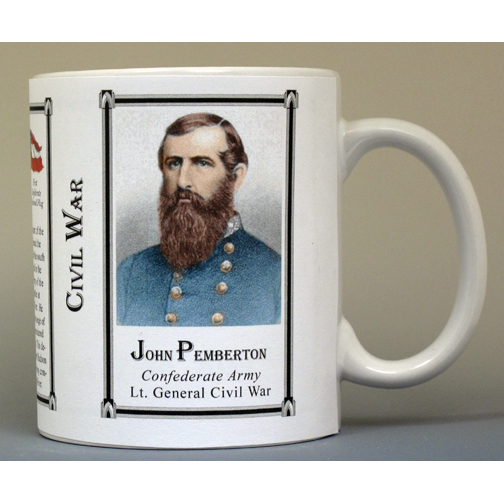 John Pemberton Civil War Confederate Army biographical history mug.