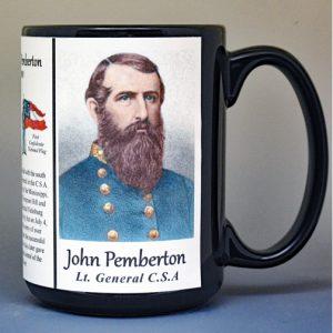 John Pemberton, Confederate Army, US Civil War biographical history mug.