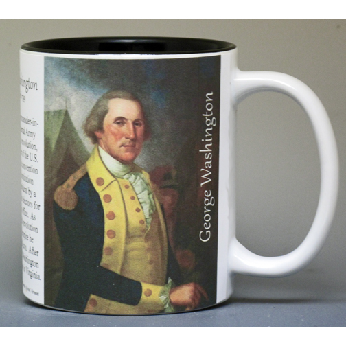 George Washington, Revolutionary War, biographical history mug.