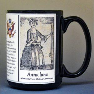 Anna Maria Lane, American Revolutionary War biographical history mug.
