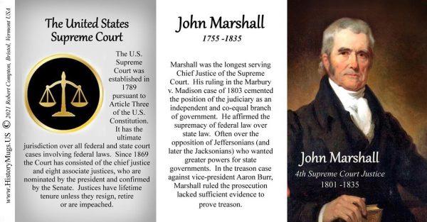John Marshall, 4th US Chief Justice of the Supreme Court biographical history mug tri-panel.