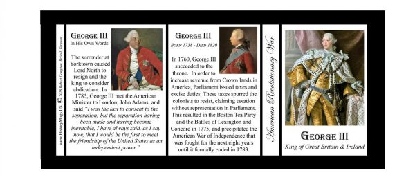 George III, British monarch, American Revolutionary War history mug tri-panel.
