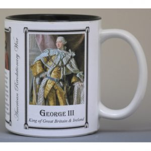 George III, British monarch, American Revolutionary War biographical history mug.