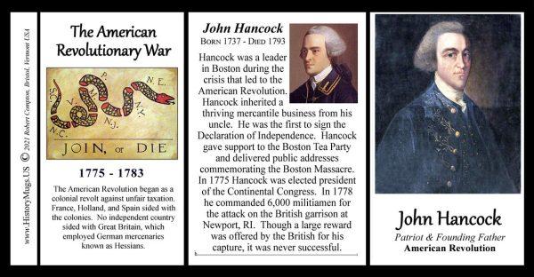 John Hancock, American Revolutionary War biographical history mug tri-panel.