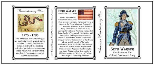 Seth Warner Revolutionary War biographical history mug tri-panel.