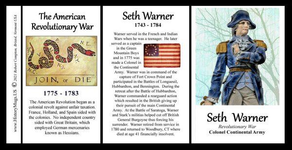 Seth Warner, American Revolutionary War biographical history mug tri-panel.